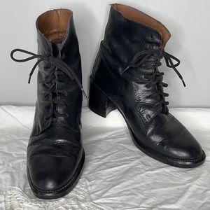Vintage Transit black leather lace up chunky heel round toe granny boots Sz 6.5